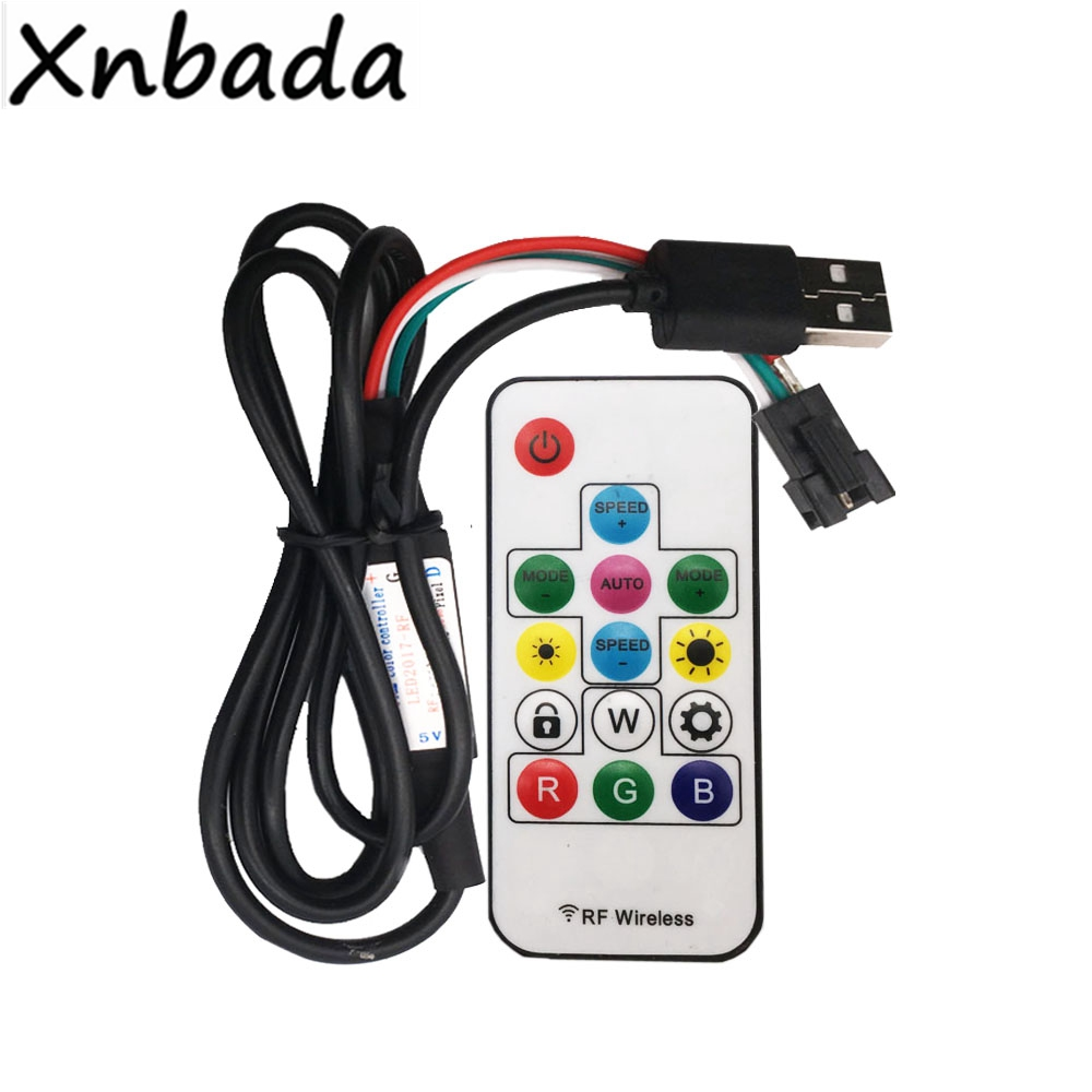 14Keys RGB Led Remote Controller With LED2017 RF Wireless USB Controller For WS2812B RGB Digital Led Pixel Strip Tape Lighting