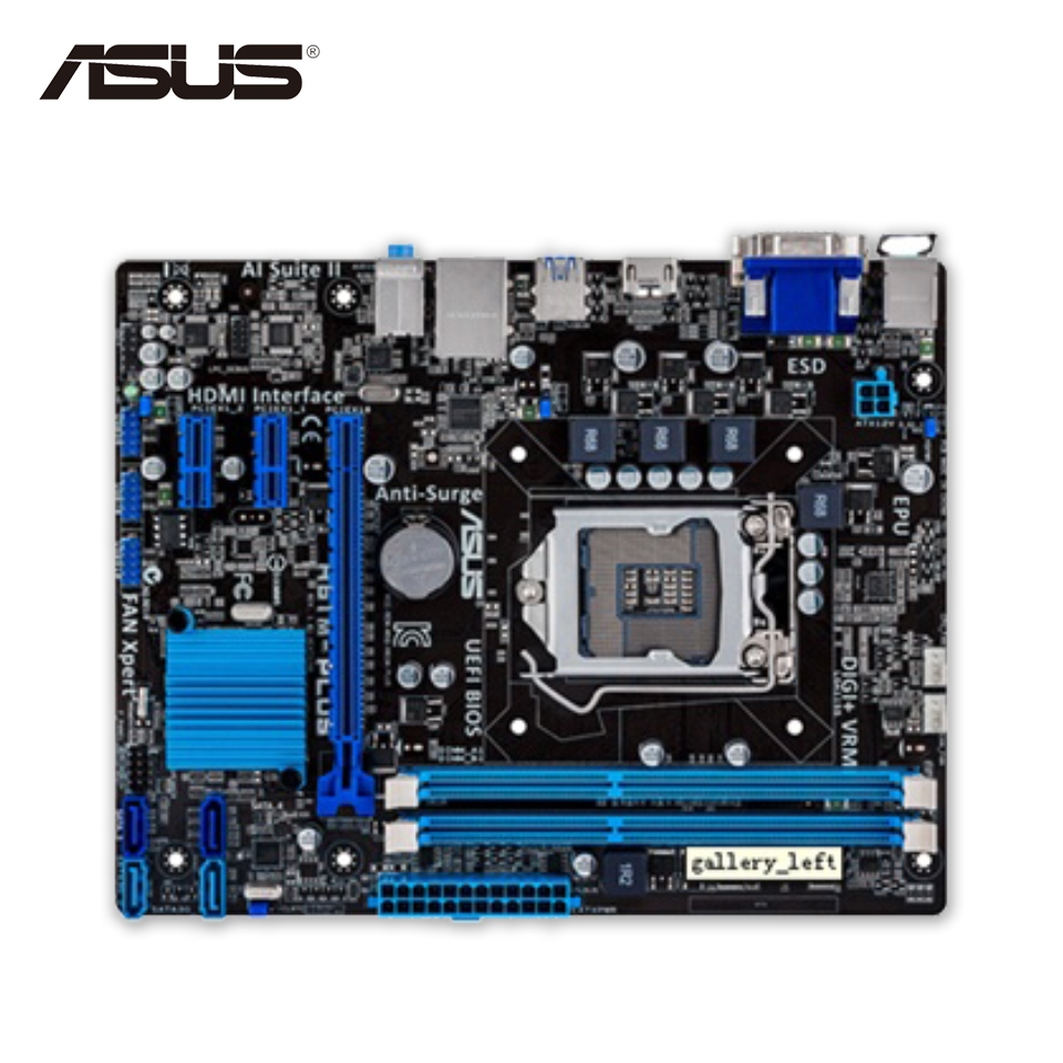 Asus H61M-PLUS Original Used Desktop Motherboard H61 Socket LGA 1155 i3 i5 i7 DDR3 16G uATX On Sale original new desktop motherboard for asus p7h55 m usb3 h55 support socket lga 1156 i7 i5 i3 maximum ddr3 16gb sata2 2 usb3 uatx