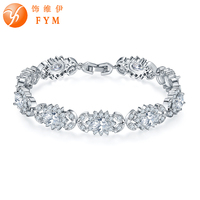 FYM Brand 19 5CM Silver Color Clear AAA Cubic Zirconia Bracelets Bangles For Women Wedding Jewelry