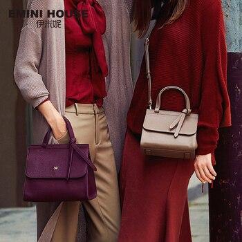 EMINI HOUSE Bow Tie Luxury Handbags Women Bags Designer Women's Genuine Leather Handbags Litchi Grain Shoulder Crossbody Bags Shoulder Bags