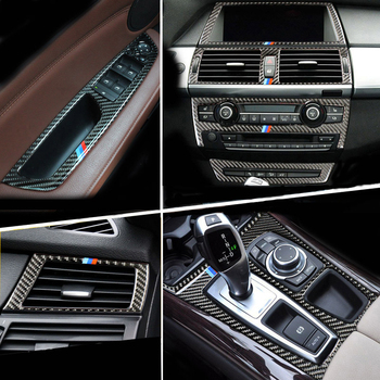 Carbon Fiber For BMW E70 E71 X5 X6 Car Interior Gearshift Air Conditioning CD Panel Reading Light Cover Trim Sticker Accessories image