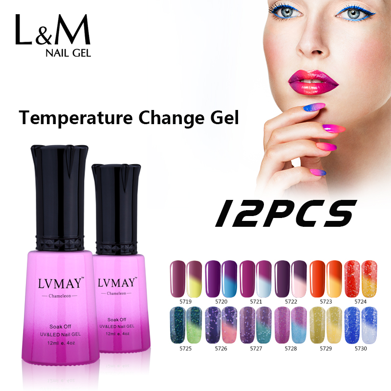 12 Pcs Free Shipping Led Temperature Change Color Gel Polish Professional French Nail Art Soak Off UV LED Brilliant Fashion beautiful women hot professional gel nail polish display box 160 color model salon shop dedicated card chart dec 7