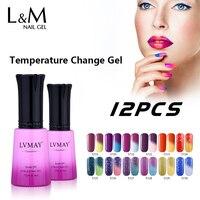 12 Pcs Free Shipping Led Temperature Change Color Gel Polish Professional French Nail Art Soak Off UV LED Brilliant Fashion