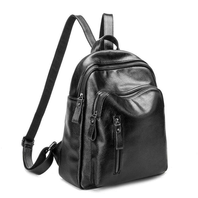 2019 mochilas femininas de couro genuíno grande capacidade ombro sacos viagem mochilas femininas para meninas adolescentes designer novo c275