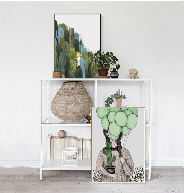 Plant Abstract Nordic Modern Cactus girl balloon Poster Canvas Wall