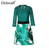 Delocah Fashion Designer Casual Suit Set Women's Green Lace Tops and Bee Beading Sequin Mini Short Skirts Two Pieces Set