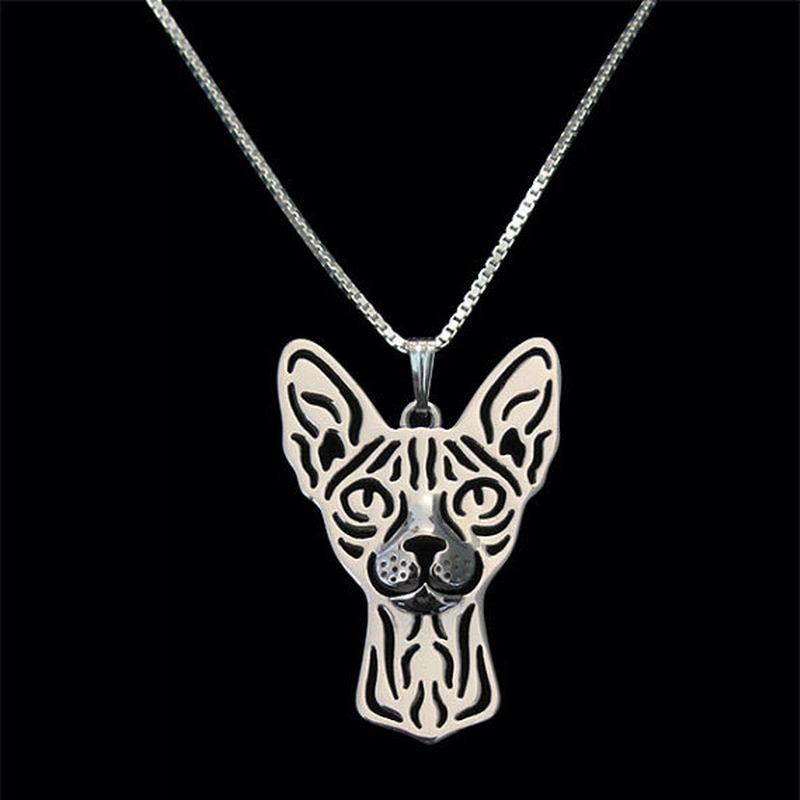 2019 jóias feminino sphynx gato colares amantes metal animal de estimação pingente colares transporte da gota