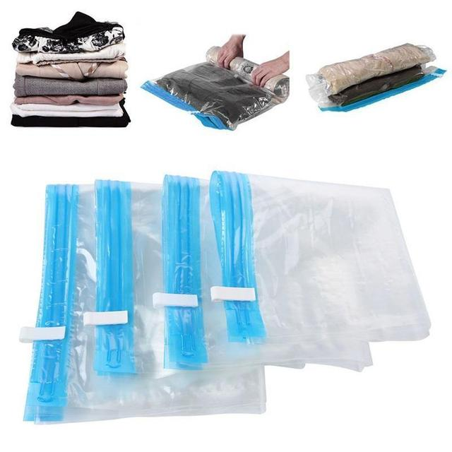 Vacuum Bags For Clothes Compressed Transpa Zip Lock Plastic E Saving Seal Wardrobe Closet Organizer