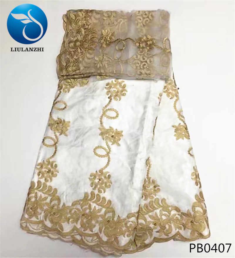 LIULANZHI Bianco tessuto da sposa in pizzo ricami in oro bazin riche getzner di vendita caldo africano bazin tessuto di pizzo di cotone 7 metri PB04