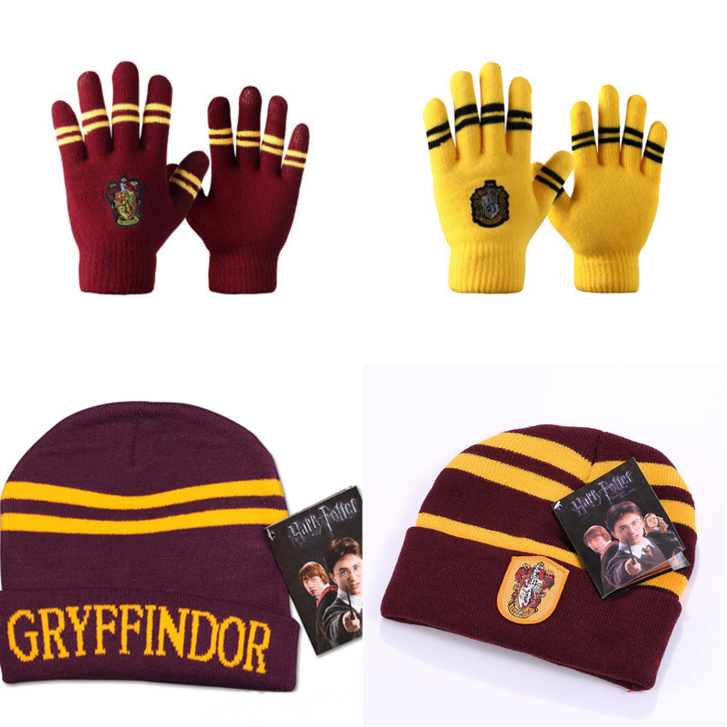 12 Styles Harri Potter Touch Gloves Cap Gryffindor/Slytherin/Hufflepuff/Ravenclaw Gloves Gift  Halloween Day