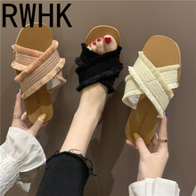 RWHK 2019 summer new cross tassel flat bottom female slippers Korean version of the trend beach womens B190