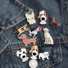 Gratis Verzending Mode Cartoon Dier Broche Metal Enamel Pins Badge 10 stijl Leuke Honden Shirt Trui Denim Revers Vrouwen Broches(China)