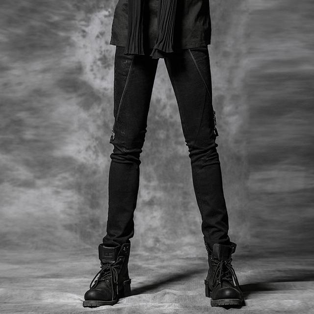 Delírio do punk Black Rock Estilo Homens Casual Denim Calças com Crânio de Impressão e Decoração Zipper K-172