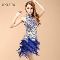 DJGRSTER New Arrival Women Latin Dance Dress Tassel Short Skirt Ballroom/Tango/Rumba/Latin Dresses Clothings For Dancer