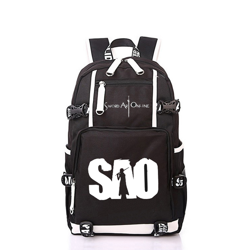 Women Men Anime SAO Sword Art Online Backpack Rucksack Mochila Schoolbag Bag For School Boys Girls Student Travel anime cartoon tokyo ghoul cosplay backpack schoolbag one piece gintama school bag rucksack men s women s naruto travel bag