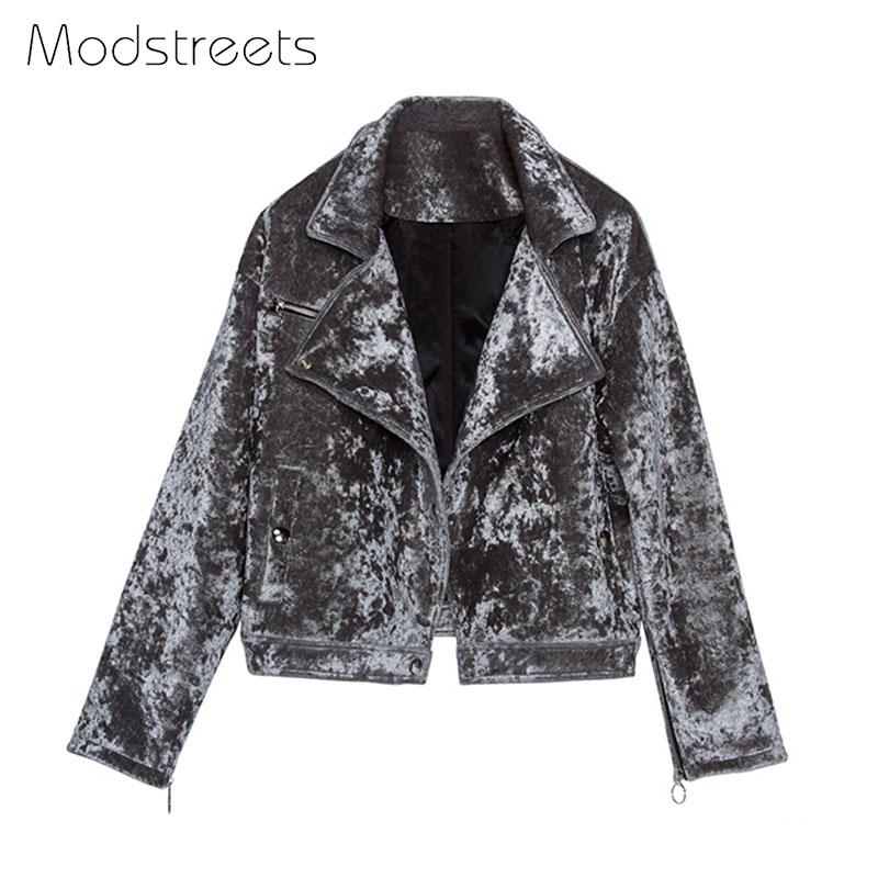 Modstreets 2019 Basic Jacket Winter Cotton Coat Jacket Women Silver Lapel Single Breasted Warm Jacket Female Outerwear Coat L XL