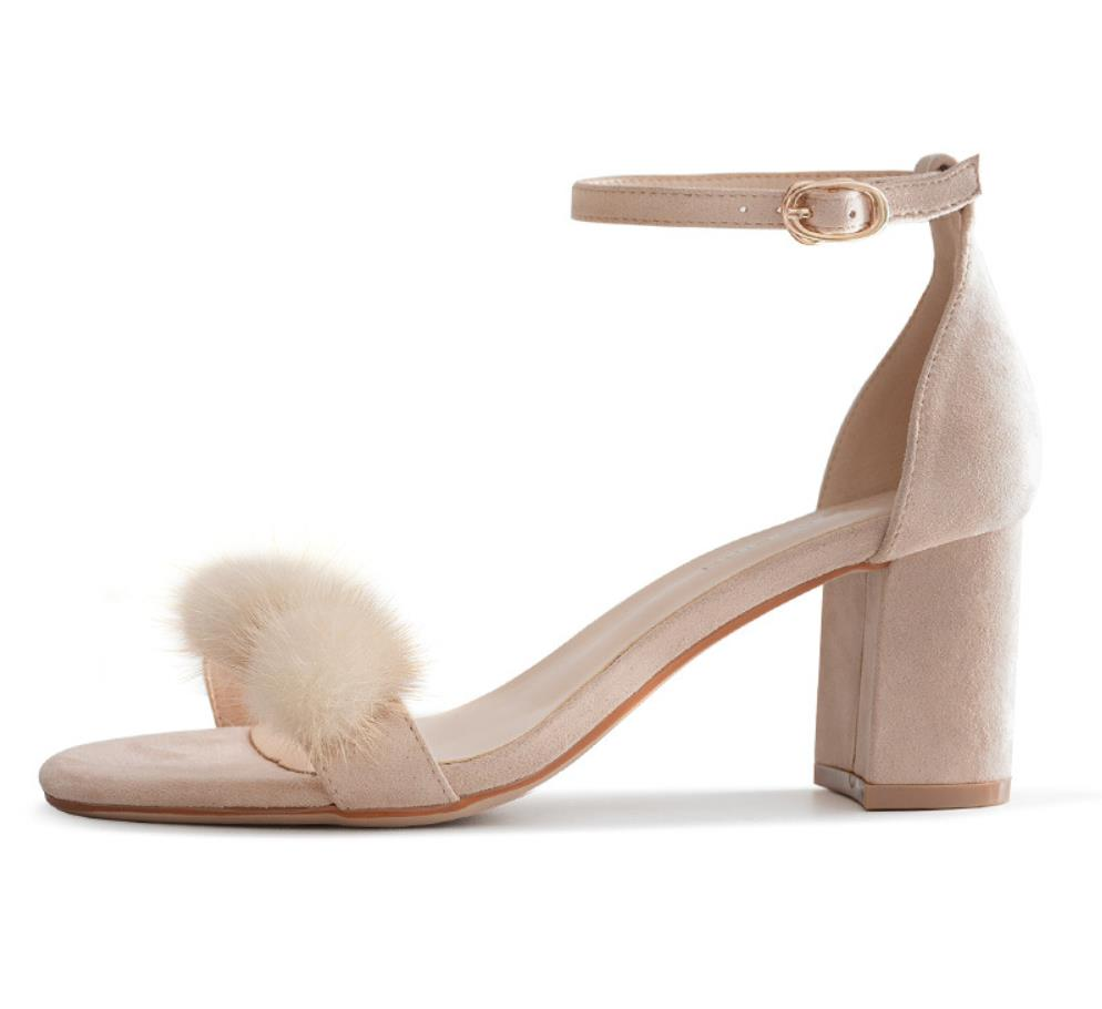 Hair ball sandals female summer 2019 new high heel thick with fur high heels plush word with open toeHair ball sandals female summer 2019 new high heel thick with fur high heels plush word with open toe