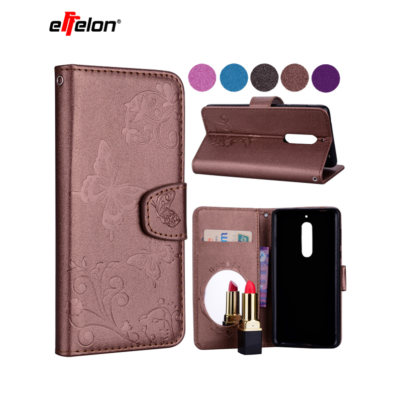 NewFlip Case for Nokia5 <font><b>TA</b></font>-<font><b>1053</b></font> <font><b>TA</b></font>-1024 Case Phone Leather Cover for Nokia 5 Global Dual <font><b>TA</b></font> <font><b>1053</b></font> Butterfly Wallet Silicone Cases image