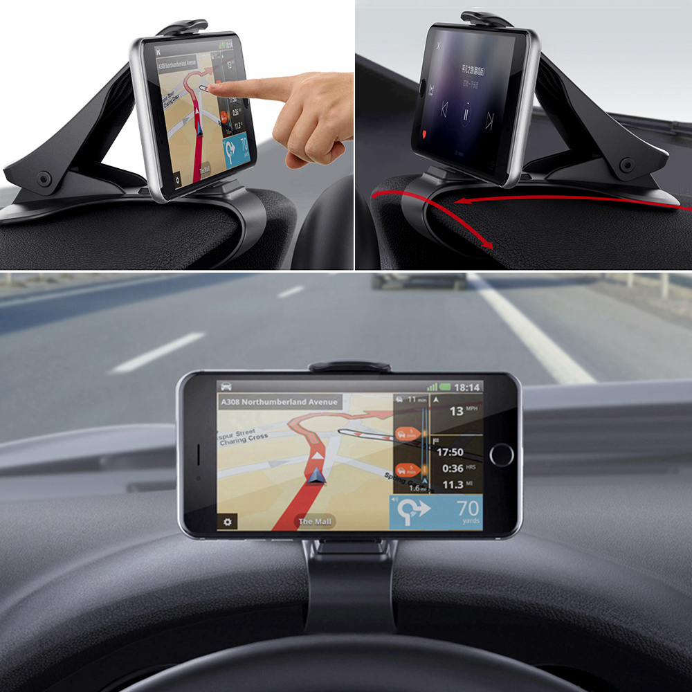 Car Accessories Universal Car Phone Holder Adjustable Clip Car Dashboard Mount Stand GPS Display