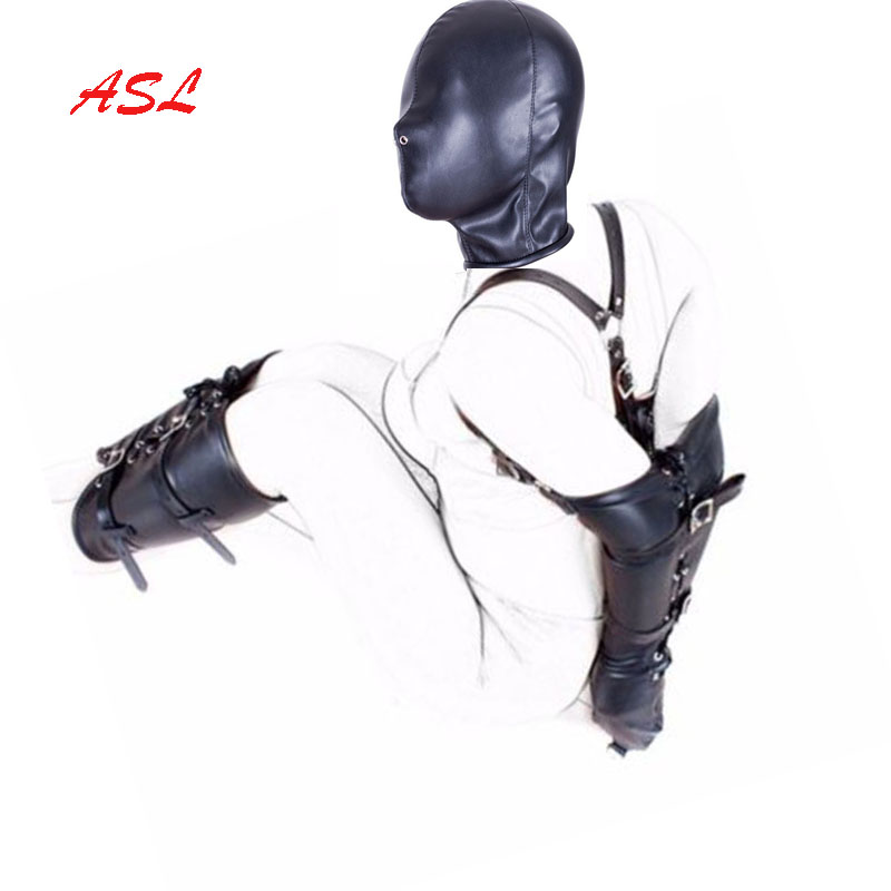BDSM Bondage Restraints Role Play Hands Wrists Arm Leg Binder Hood Mask ,  PU Leather Tight Single Glove,Adult Costumes Sex Toys