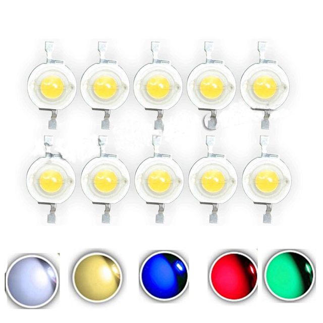10pcs Real Full Watt CREE 1W 3W High Power LED lamp Bulb Diodes SMD 110-120LM LEDs Chip For 3W - 18W Spot light Downlight