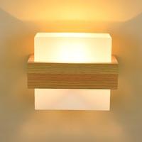 Modern Chinese Led Wall Lamp Creative Bedside Lamp Hotel Engineering Wall Lamp Real Wood Bedroom Wall