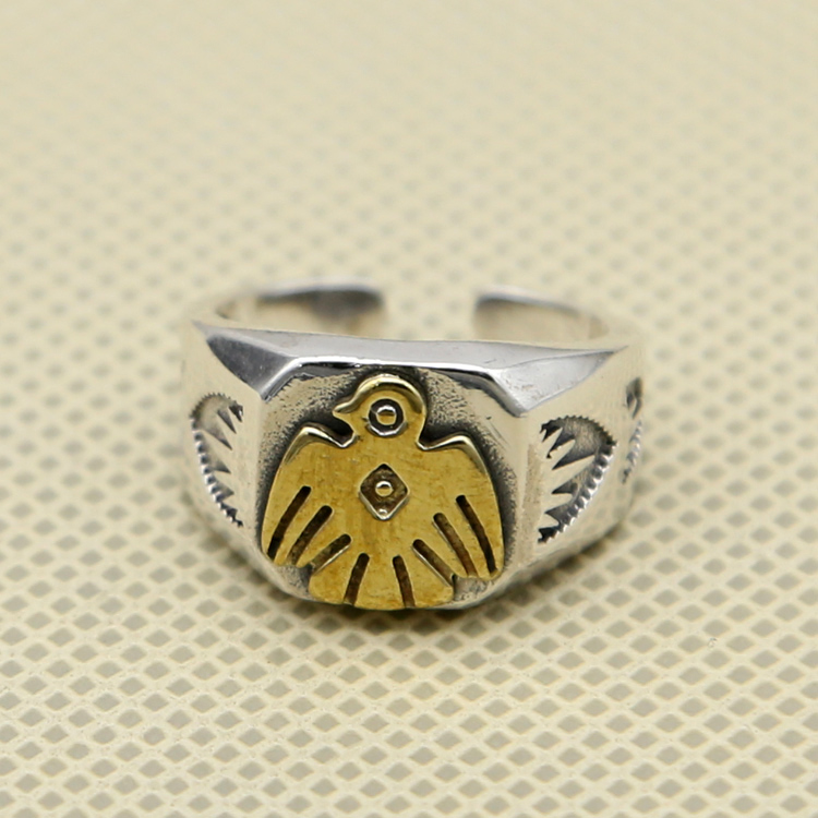 Vintage Indian Style Thunder Bird Cuff Ring Men Wide Band Tail Ring 100% Real Solid 925 Sterling Silver Cool Mens Jewelry Gifts