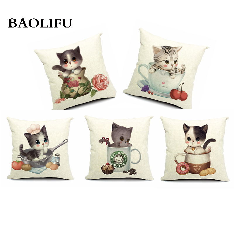 Cute Cushion CoverFlower Cup and Cat Decorative Cushion Cover for Sofa Seat Cushion Cover Linen Cotton Chair Square Cushion Cove