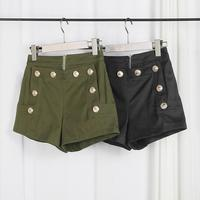 Wholesale New Fashion Female Double Pocket Zipper Metal Button Shorts Placket Double Breasted Buckle Shorts Wj880