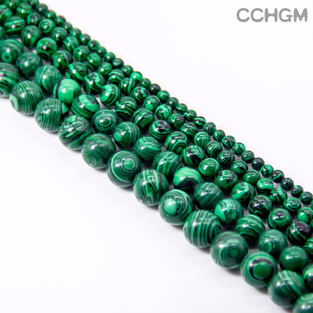 CCHGM Hot Sale Wholesale Polished Natural Malachite Stone Round Beads For Jewelry Making DIY Bracelet Necklace 4/6/8/10/12/14mm