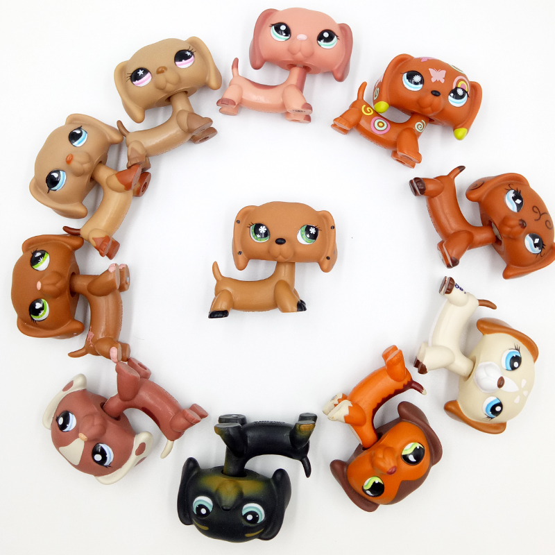 Rare Littlest Pet Shop Toys Dog Collection Cute Littlest Sausage DACHSHUND Old Original Animal Figure Kids Christmas Gifts