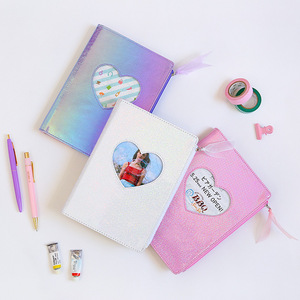 Image 3 - New 2020 Cute Cartoon PU Leather Notebook Laser Heart Diary Personal Diary Week Planner Organizer Note book School Stationery