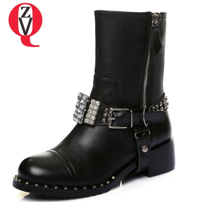 ZVQ shoes women 2018 newest fashion crystal rivet zipper round toe med square heel black large size mid calf boots size 34-43 mid size