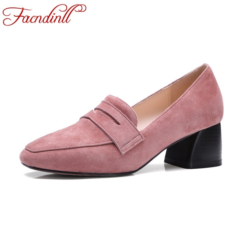 ФОТО new fashion suede leather women high heels pumps spring shoes square toe office&career classics ladies shoes woman bestseller