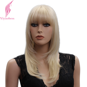 Image 2 - Yiyaobess 18inch Light Blonde Medium Long Straight Wig With Bangs Natural Synthetic Hair Wigs For Women Japanese Fiber