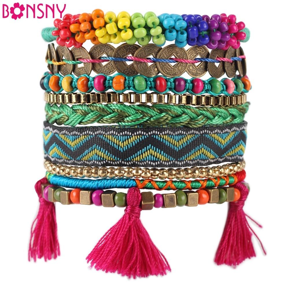 Bonsny Musim Gugur Musim Dingin Buatan Tangan Gelang Wanita Bohemian Merek Bangle Menenun Gelang Fashion 2016 Berita Perhiasan Untuk Gadis