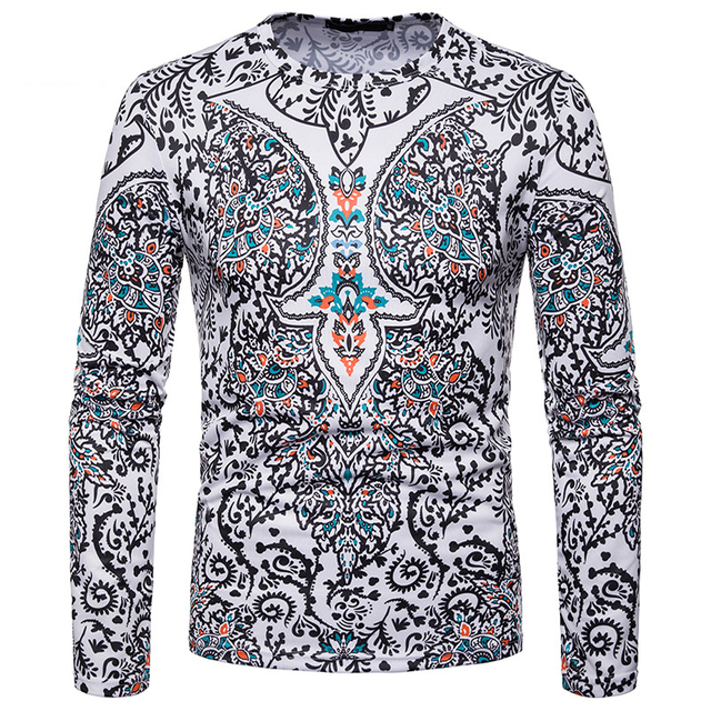 Brand White T Shirt Men Long Sleeve Tee Shirt Homme 2018 Paisley Floral  Print T-shirts Male African Dashiki 3D Printing Top Tees ffd31242e109