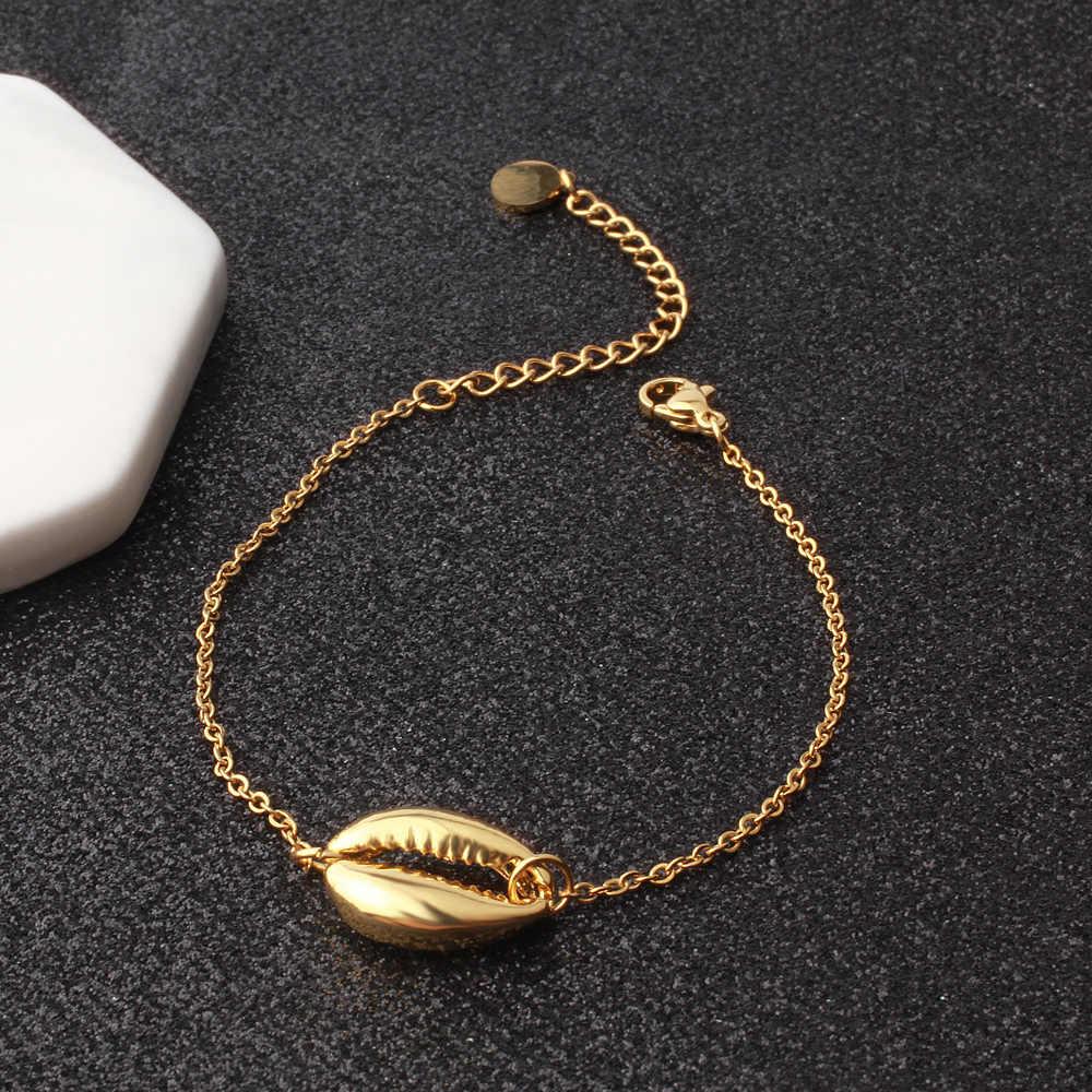 FINE4U B167 Bohemia Summer Beach Jewelry Sea Shell Charms Bracelet Gold Color Adjustable Chain Bracelet For Women Girls Gifts