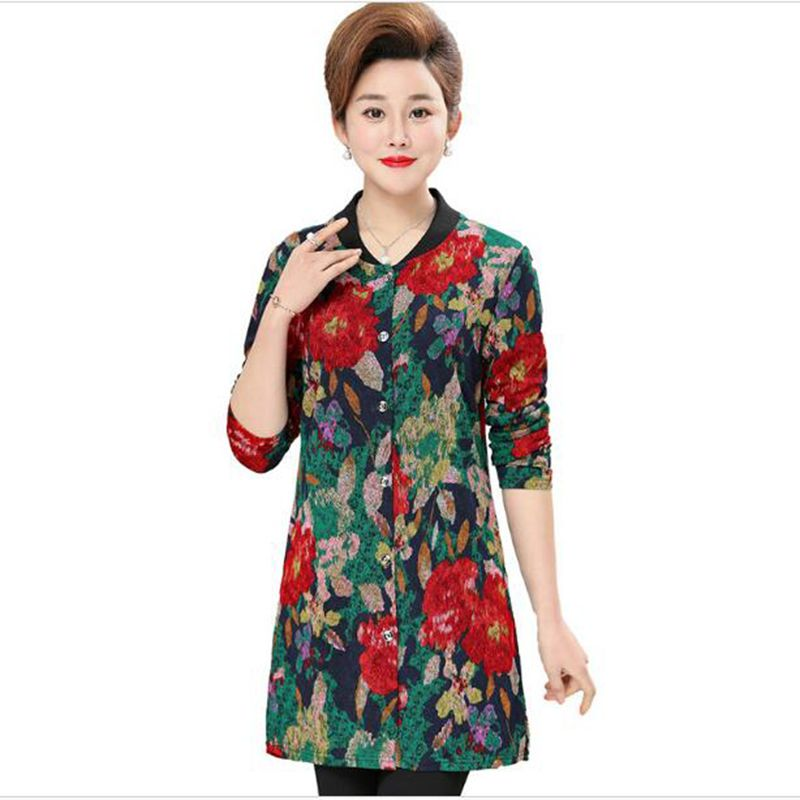 Plus size 5XL Middle-aged mother Spring section Long section coat 2018 Women's fashion High-quality printing   Trench   coat AC768