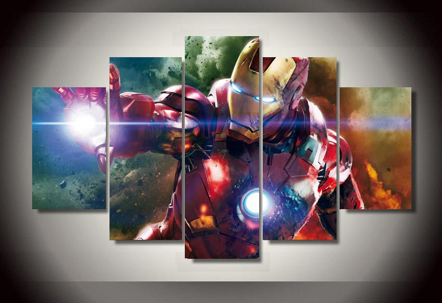 framed printed cartoon movie iron man 5 piece picture painting wall