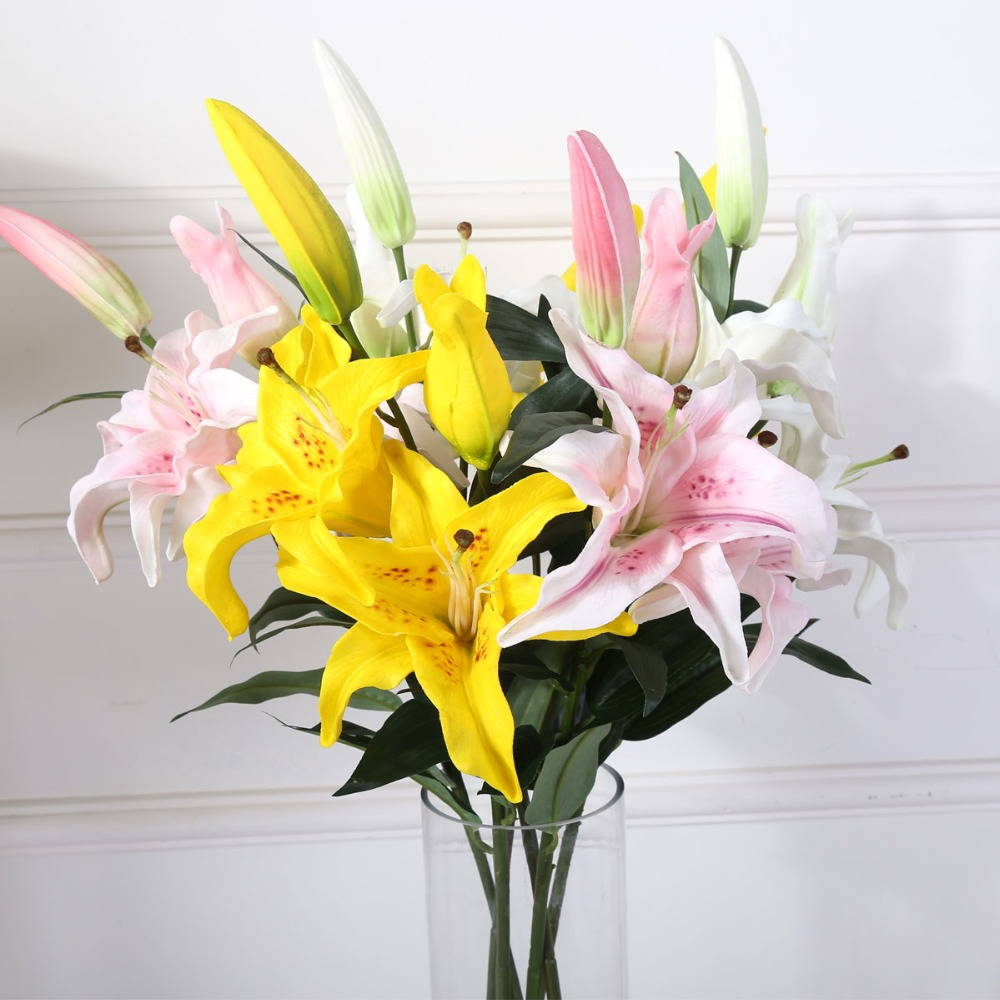 Everymay 362 pu latex lily 4 head tiger lily real touch home everymay 362 pu latex lily 4 head tiger lily real touch homewedding decoration artificial flower 7 pcs marriage dekoration in artificial dried flowers izmirmasajfo