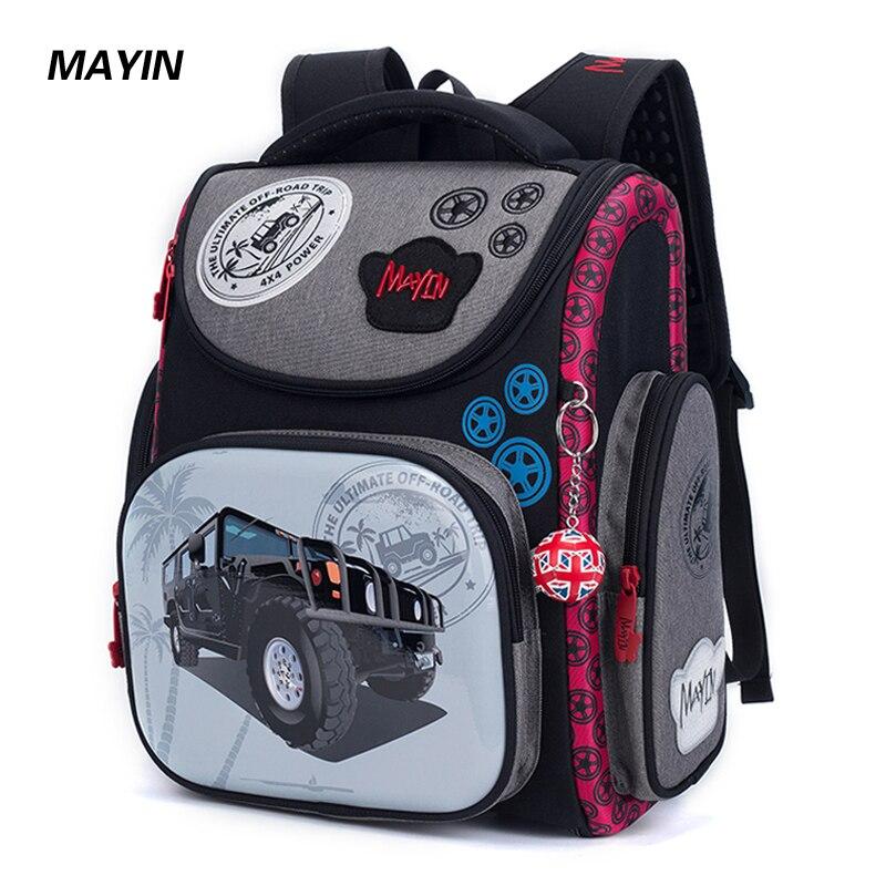 2018 enfants sac à dos enfants Cartoon sacs d'école pour garçons 3D voiture école sac à dos pour orthopédique cartable noir Bolsa Escolar