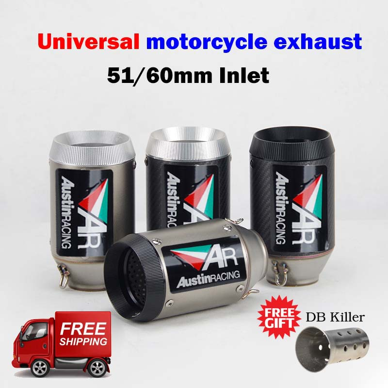 51/60MM Universal Motorcycle Exhaust Muffler Austin Racing AR Exhaust For R6 Mt09 Ninja400 Z250 Z900 Z1000 Gsxr600 R3 S1000rr R1