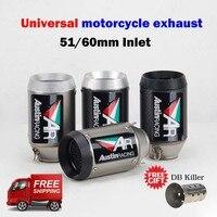 51/60MM Universal motorcycle exhaust muffler austin racing AR exhaust for R6 mt09 ninja400 Z250 z900 z1000 gsxr600 r3 S1000rr r1