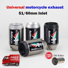 Silenciador de escape Universal para motocicleta, 51/60MM, austin racing AR, R6 mt09, ninja400, Z250, z900, z1000, gsxr600, r3, S1000rr, r1