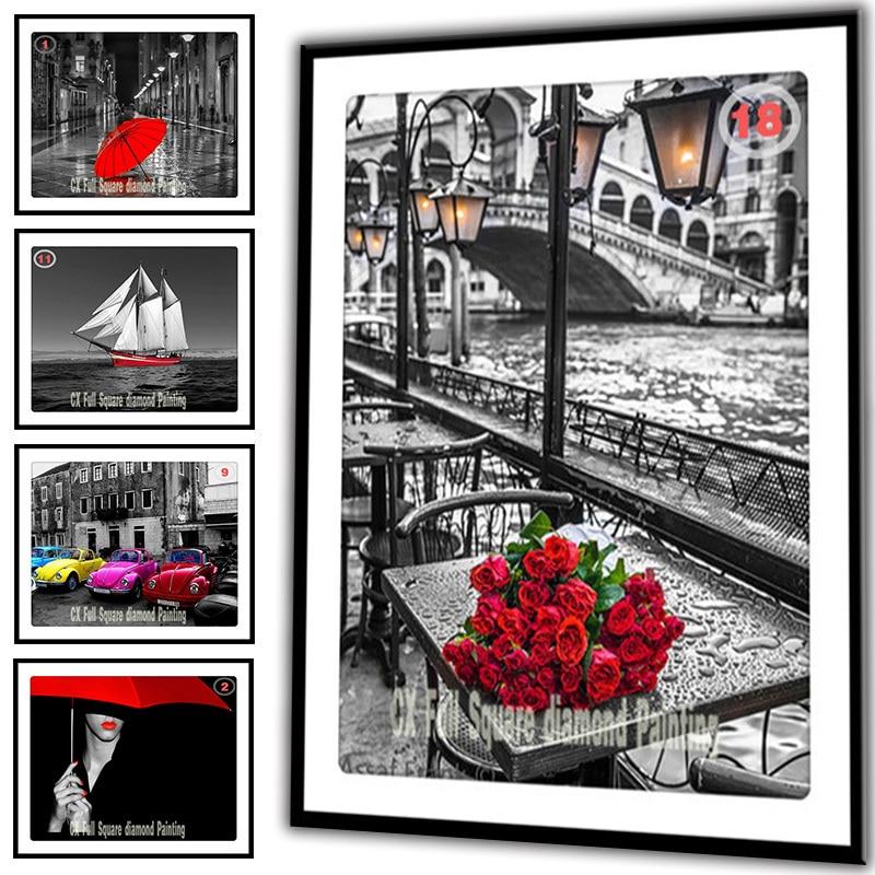 25 Volitelné obrázky DIY Diamantové malování Cross Stitch Vyšívání Diamond Mosaic Diamond Výšivky Květiny Růžové řemesla F1007 zx