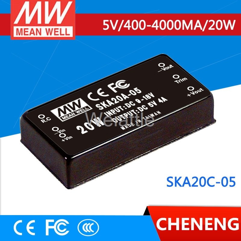 цена на MEAN WELL original SKA20C-05 5V 4000mA meanwell SKA20 5V 20W DC-DC Regulated Single Output Converter
