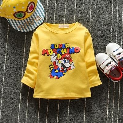 Character Print Long Sleeve Baby Shirts