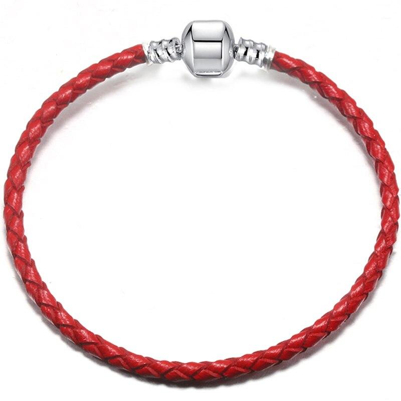 BAOPON, Прямая поставка, высокое качество, 9 цветов, кожаная цепочка, браслеты с подвесками, сделай сам, прекрасный браслет для женщин, девушек, ювелирное изделие, подарок - Окраска металла: Red-1