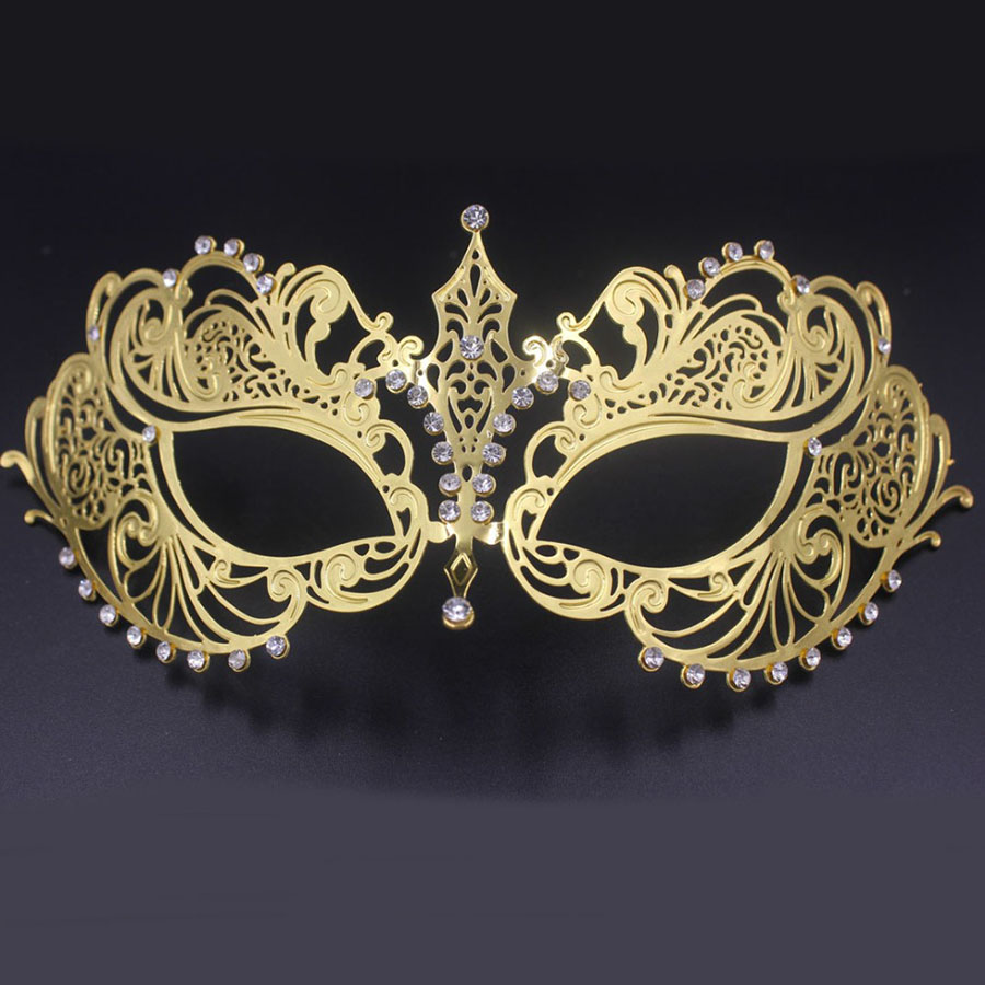 a69213cd9e13 Beautiful Phantom Opera Masquerade Mask Black Gold White Female Metal  Venetian Silver Rhinestone Party MACKA Wedding
